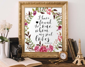 Bible Verse Printable, Scripture Print Christian wall art decor, Wedding Gift, I Have Found the One, Song of Solomon 3:4 PrintableStyles