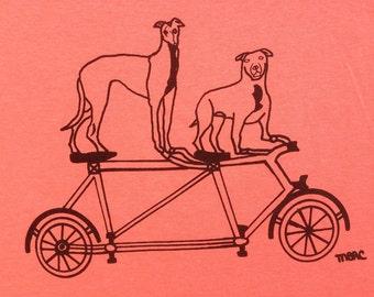 Bike Tee Shirt- Pit Bull Tee Shirt- Greyhound Tee Shirt- Bike Gift- Pit Bull Gift- Greyhound Gift- Dog Rescue- Woman's Tee- Hand Drawn- XL