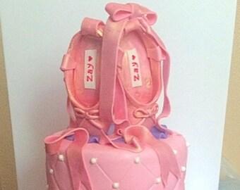 Ballerina slippers cake topper