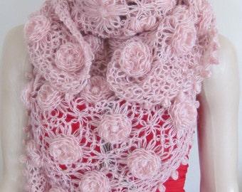 Pink Bridal Shawl, Wedding Shawl, Crochet shawl, Pink Shawl, Night shawl,Bridal shrug,72