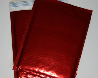 20 6x9 Red Metallic Bubble Mailers Size 0 Self Sealing Shipping Envelopes Christmas