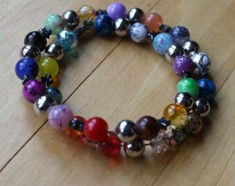 spiral bracelet round beads multicolor/orange/white