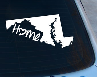 Maryland Decal - State Decal - Home Decal - MD Sticker - Love - Laptop - Macbook - Car Decal