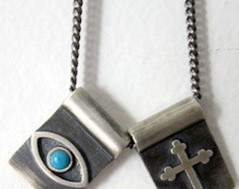 "GREEK EYE /Evil Eye Necklace  .925 Sterling Silver -turquoise stone w/chain 22"" long"