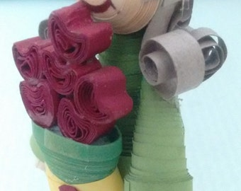 Miniature Quilled Doll with bouquet of flowers in her hand