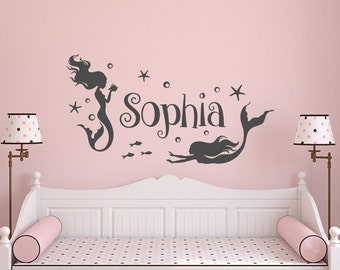 Girl Wall Decal Name- Mermaid Wall Decal Girls Room- Personalized Girls Name Wall Decal- Wall Decal Girls Room Bedroom Mermaid Decor 152