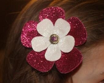 Glittery hair clip. Sparkle flower hair Bow clip. Hair accessorie .