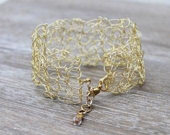 Gold wire crochet bracelet, woven statement cuff, crochet jewellery, woven wire, gold plated wire, statement bracelet, adjustable bracelet