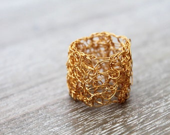 Gold wire crochet ring, statement ring, woven wire, gold plated jewellery wire, adjustable ring