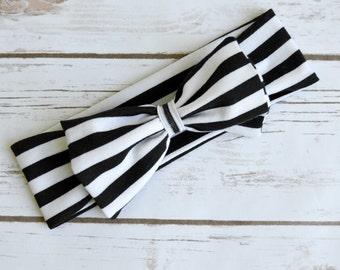 Black and white headband, baby girl headband, toddler headband, striped headband, big bow headband, black headband, white headband
