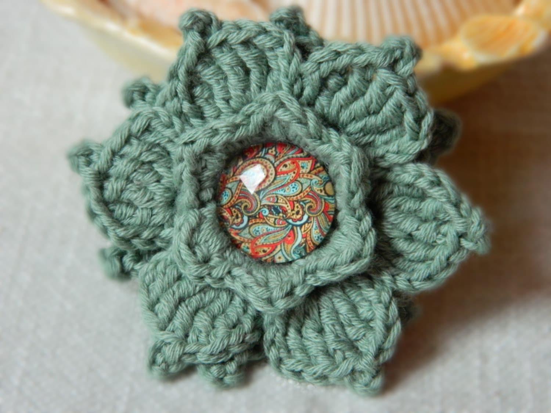 Crochet Flower Pin Pattern ~ Dancox for .