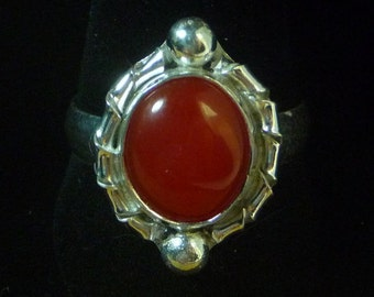 Carnelian Sterling Silver Solitaire Ring by SmithSilver Size 9