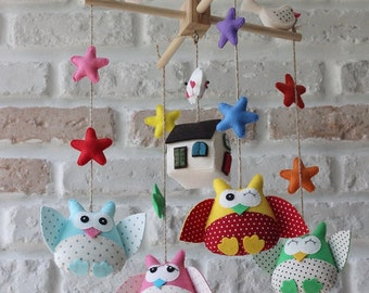 OWL mobile. Baby crib mobiles. Cute mobiles. baby room decorating ideas Mobil