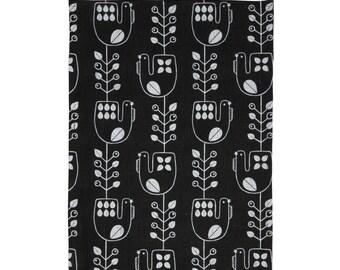 Hand screen printed 'Mustikkakukko' tea towel in 100 % Linen - Black and White
