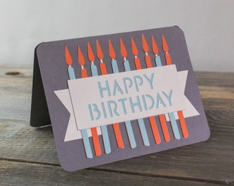 Happy Birthday Candles Handmade Greeting Card