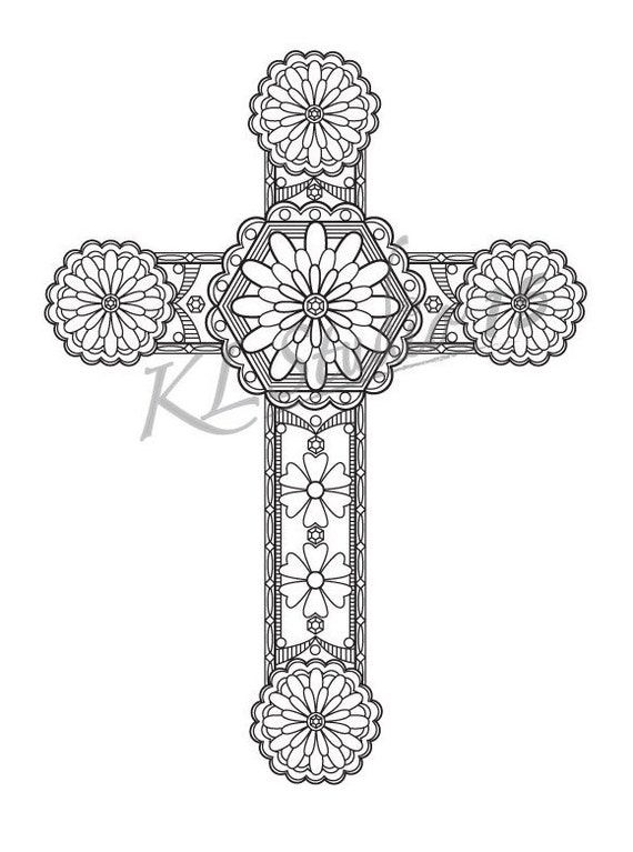 cross coloring page instant download relax cross designs