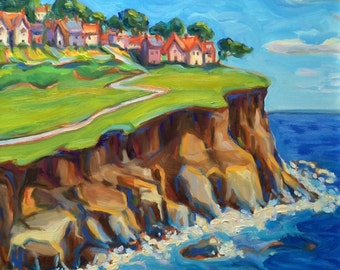 Coastal Scene Colorful Original Oil Painting - Imaginative Wall Art