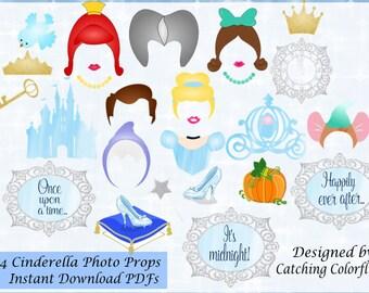 Cinderella Party Props- Cinderella Crowns- DIY Photo Booth Props- Princess Hair Photo Props- Printable