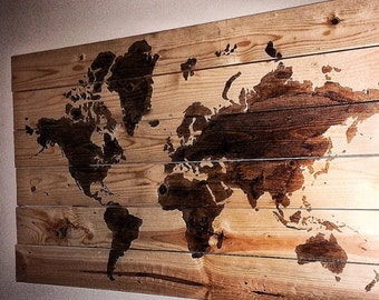 Rustic World Map Wall Hanging