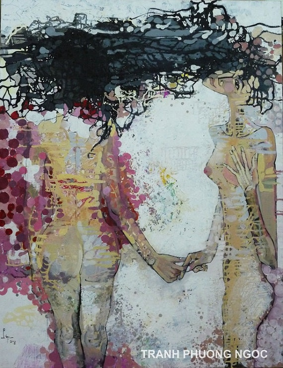 """ASCENDING TO HEAVEN 39x51"""" oil on canvas, nude art, wall decor, original painting by Nguyen Ly Phuong Ngoc"""