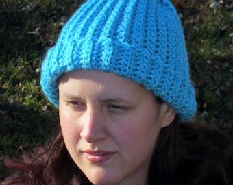Warm Winter Crochet Hat, Aqua