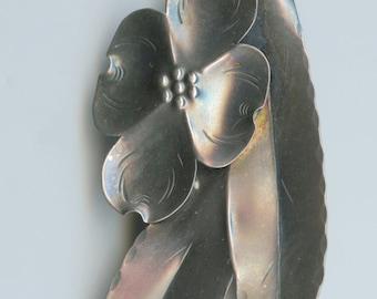 Vintage Stuart Nye Sterling Silver Dogwood Spray Handmade Brooch c1940