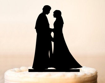 Star Wars Cake Topper, Anakin and Padme Cake Topper, Star Wars wedding cake topper, Star Wars Silhouette,unique wedding cake topper (0069)
