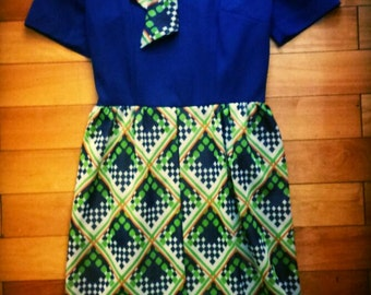 1960s polyester mad men style dress size large