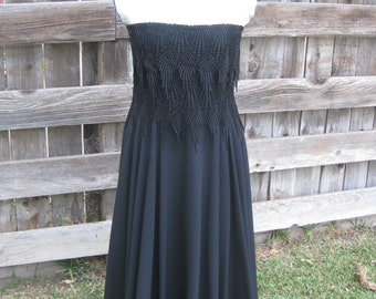 Black Floral Layered, Strapless Dress with Full Satin Skirt