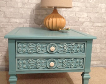 Hand Painted End Table | Night Stand | Side Table