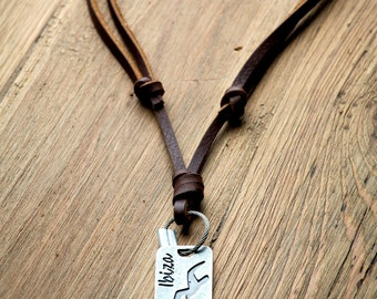 """Tag Disk Necklace // Tag Disk Leather Necklace """"IBIZA"""" Spain"""