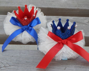 Red Crown Clip,  Blue Crown Clip, Party Crown, Girl Tiara, Girls Crown, Baby Crown,  Hair Accessories