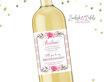 Will you be my bridesmaid wine labels, bridesmaid wine labels, thank you bridesmaid labels, bridesmaid gift - style 16 LIMELIGHT LABELS
