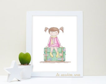 Nursery girl watercolor wall art pink  Baby room Decoration art print original illustration Kids room travel theme