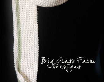 Cream and Sage Crocheted Scarf