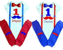 Twin Birthday Outfits, Mustache Birthday Outfit, Mario Birthday Outfit, Twins Onesie, First Birthday Outfits for Twins