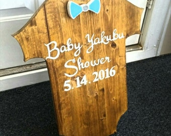 Baby Shower Onesie, Baby Shower Gift, Baby Shower, Baby Onesie, Custom Wood Sign, Baby Gifts, Party Sign, Baby Clothes, Bow Tie, Baby