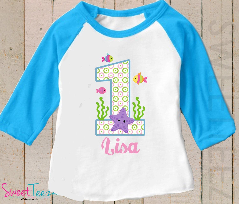 Birthday Shirt Sea Star Shirt Personalized Fish Blue Raglan 3 4th