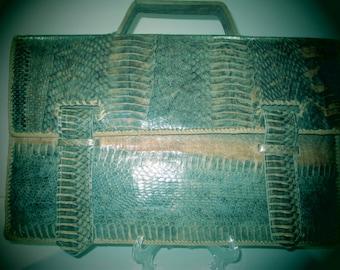 SNAKESKIN ATTACHE Laptop Bag