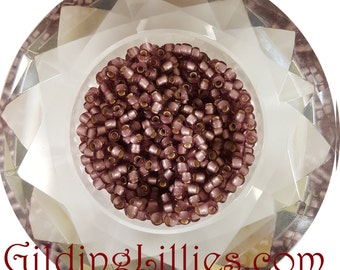 "6"" Toho 8/0 Round #26F Light Amethyst Silver Lined Matte Beads"