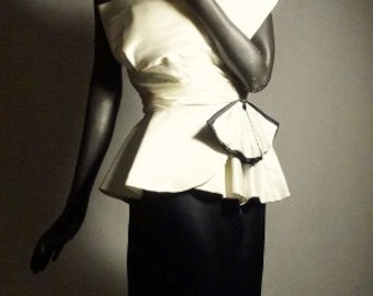 1940s Style Evening Dress B&W Silk Origami Italian Couture Sz 6