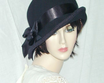 Black Custom Convertible 3 in 1 asymmetrical cloche - Downton Abbey hat, Miss Fisher, Great Gatsby hat