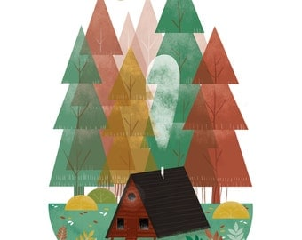 Cabin / A3 Illustrated Art Print