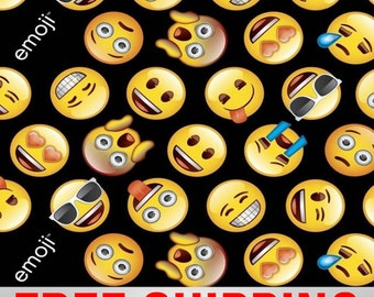 Emoticon fabric etsy for Emoji material by the yard