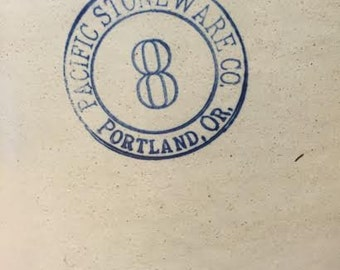 Crock, Pacific Stoneware Co. Portland, Or., 8 gallon, pickling, crock