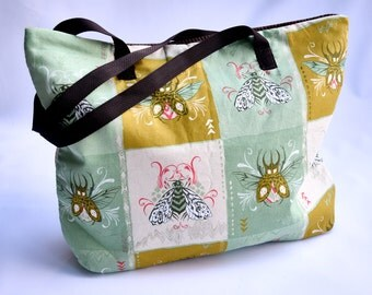 Beetle and Moth Tote Bag/ Yellow and Green Purse/ Bugs/ Butterfly/ Brown/Bag/ Beach Bag