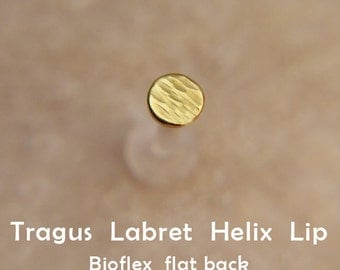 Tragus earrings 2-3-4mm Discs Gold Labret/16G/ BioFlex/gold/gold plated/sterling silver/labret earring/cartilage earring/lip piercing