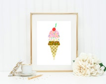 Ice Cream Cone Foil Wall Art! Real foil - Choose any color cone