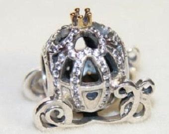 Disney CINDERELLA PUMPKIN COACH  / New / Sterling Silver / 14k Gold Crown / Fully Stamped.