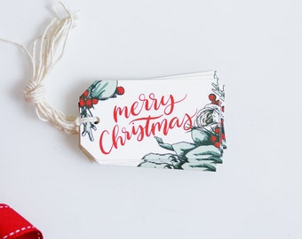 Christmas Gift Tag - Holiday Wrapping - Illustrated Christmas Packaging - Woodland Floral
